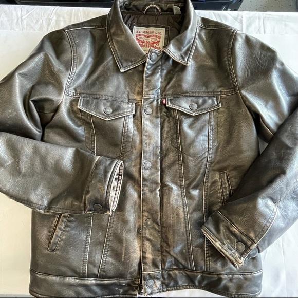 Vintage faux leather Levi's jacket coat trucker sm